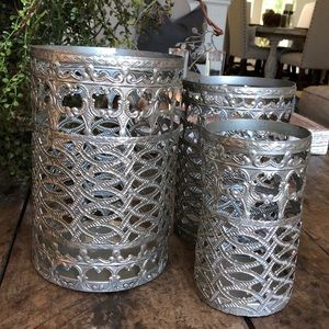 3 pc metal candle holders
